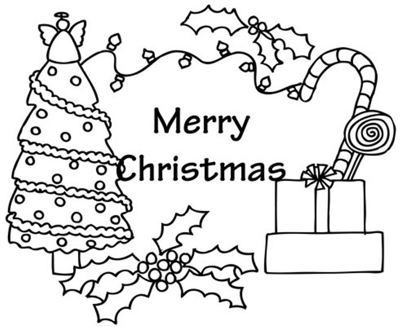 Merry Christmas Candy Cane Coloring Pages