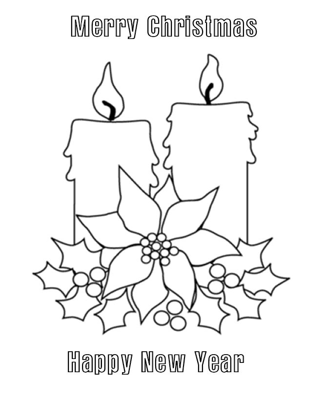 Merry Christmas Coloring Page Candles