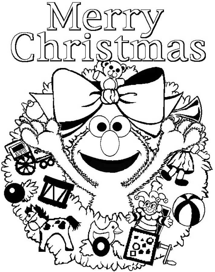 Merry Christmas Elmo Coloring Page