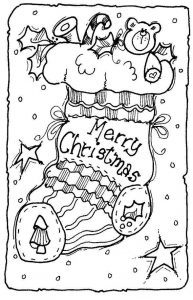 Merry christmas stocking coloring page