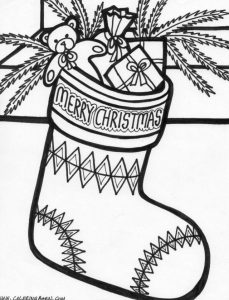 Merry christmas stocking hanging coloring page