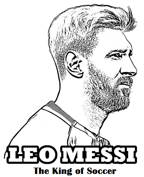 Messi The King Of Football Soccer Coloring Page