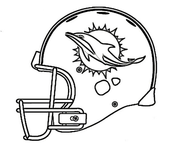 Miami Dolphins Helmet Coloring Nfl Page - Coloring Sheets