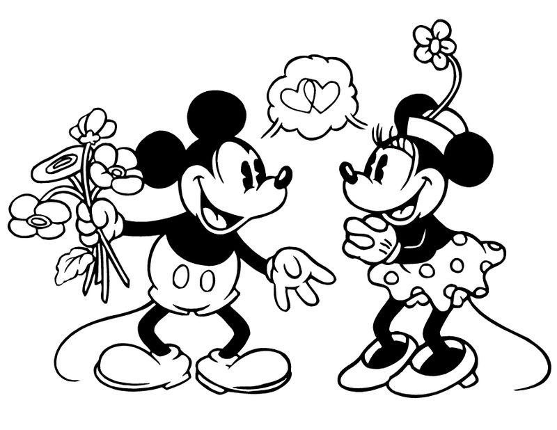 Mickey And Minnie Valentines Disney Coloring Pages