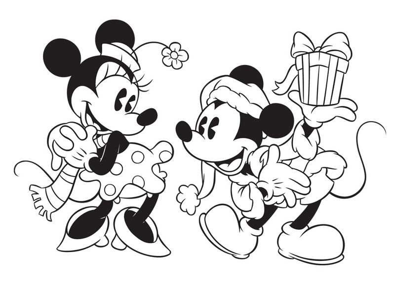 Mickey Giving Minie A Gift Disney Christmas Coloring Pages
