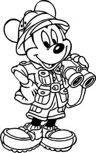 Mickey mouse cartoon animal kingdom travel coloring page