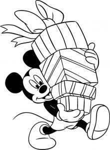 Mickeys christmas presents coloring page