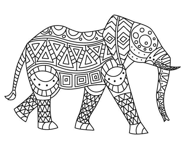Mindfulness Coloring Pages Animal Elephant