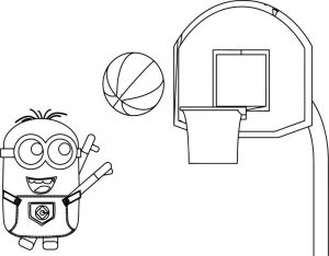 Minion playing basketball coloring page