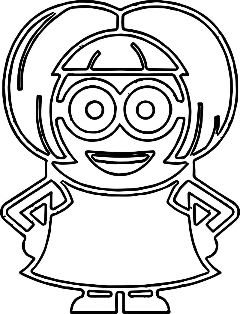 Minions Girl Ready Coloring Page