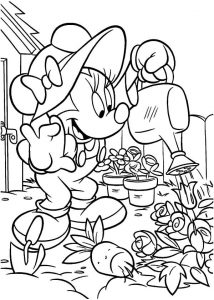 Minnie gardening coloring pages 001