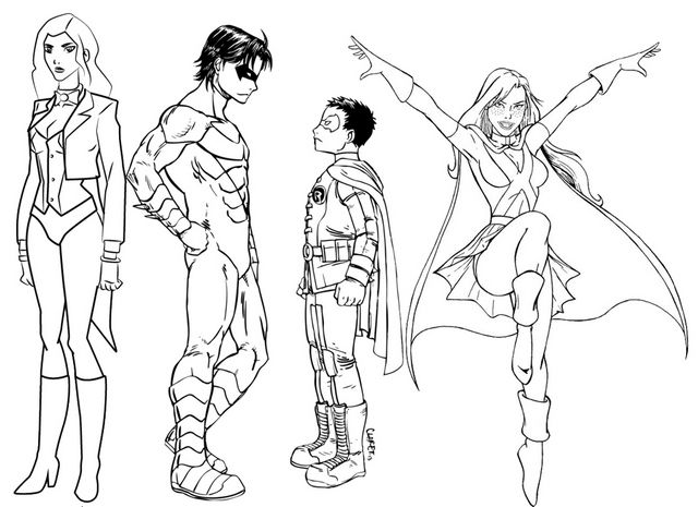 Miss Martian And Other Young Justice Characters Coloring Page