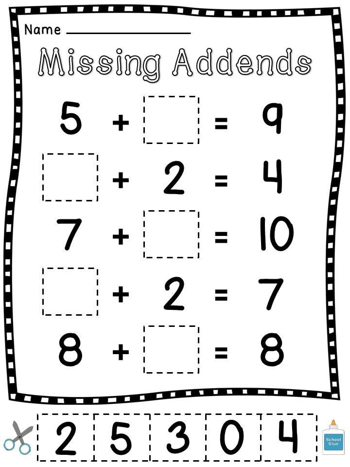 Missing Cut And Paste Worksheet For 1st Grade