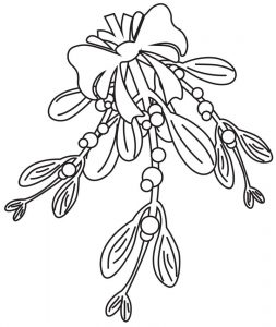Mistletoe christmas coloring pages