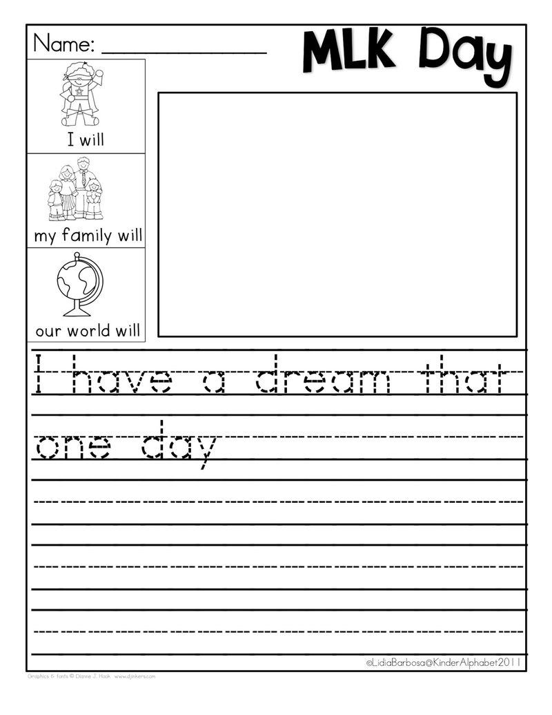 Mlk Day Handwriting Worksheet