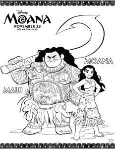 Moana and maui disney coloring pages