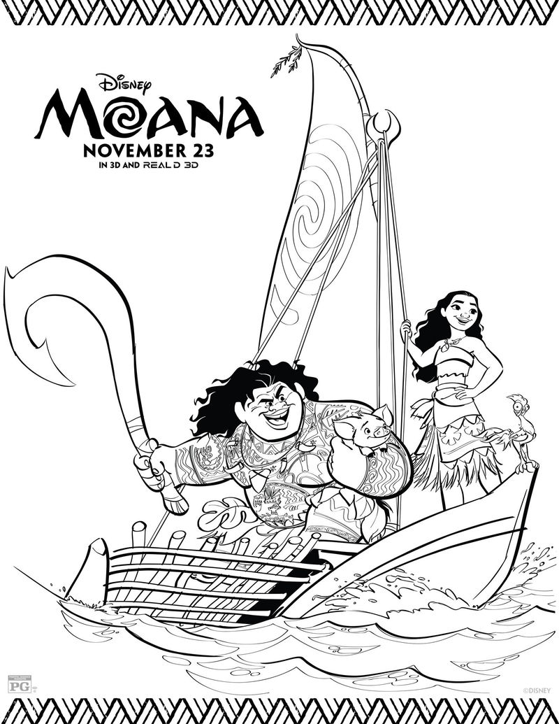 Moana And Maui Printable Disney Coloring Pages