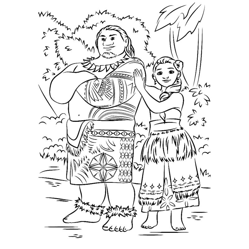 Moanas Chief Tui And Sina Coloring Pages