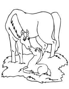 Mom and pony coloring page