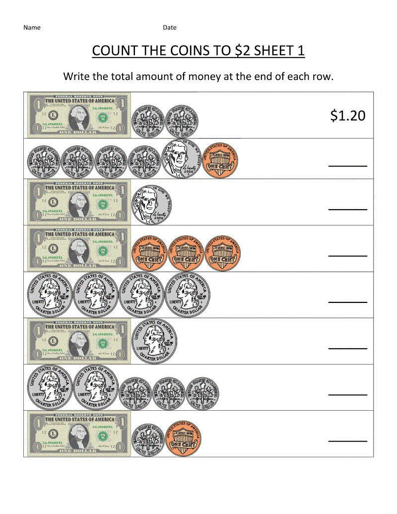 Money Math Worksheets For 2nd