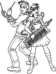Monica girl play electro piano and boy coloring page
