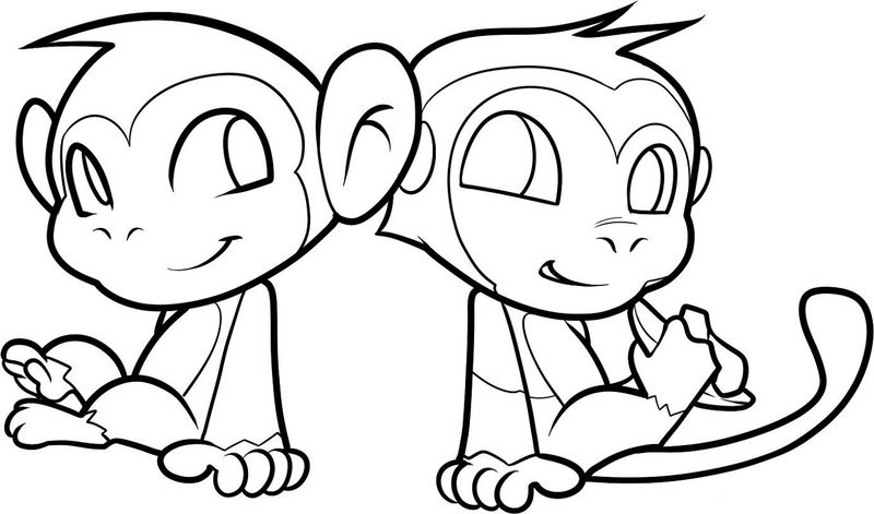 Monkey Coloring Pages For Children 001