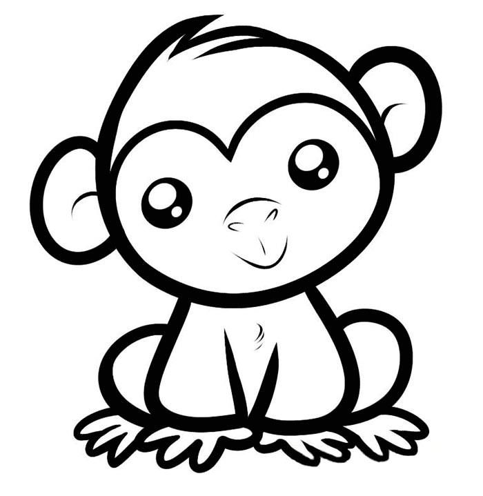 Monkey Easy Coloring Pages