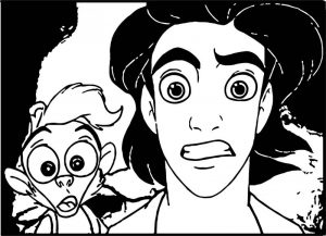 Monkey prince aladdin shock walt disney characters coloring page