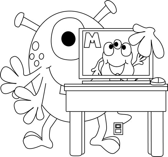 Monster Computer Coloring Page