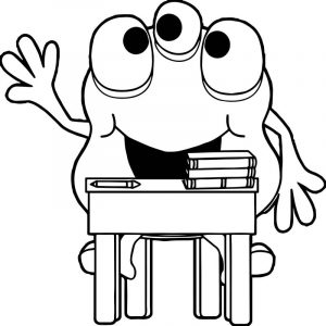 Monster in school coloring page