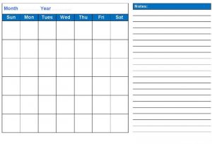 Monthly blank calendar landscape with notes