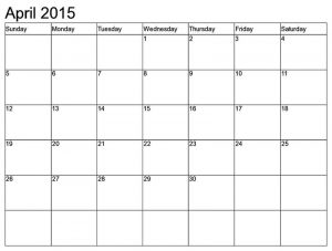 Monthly calendar printable for april