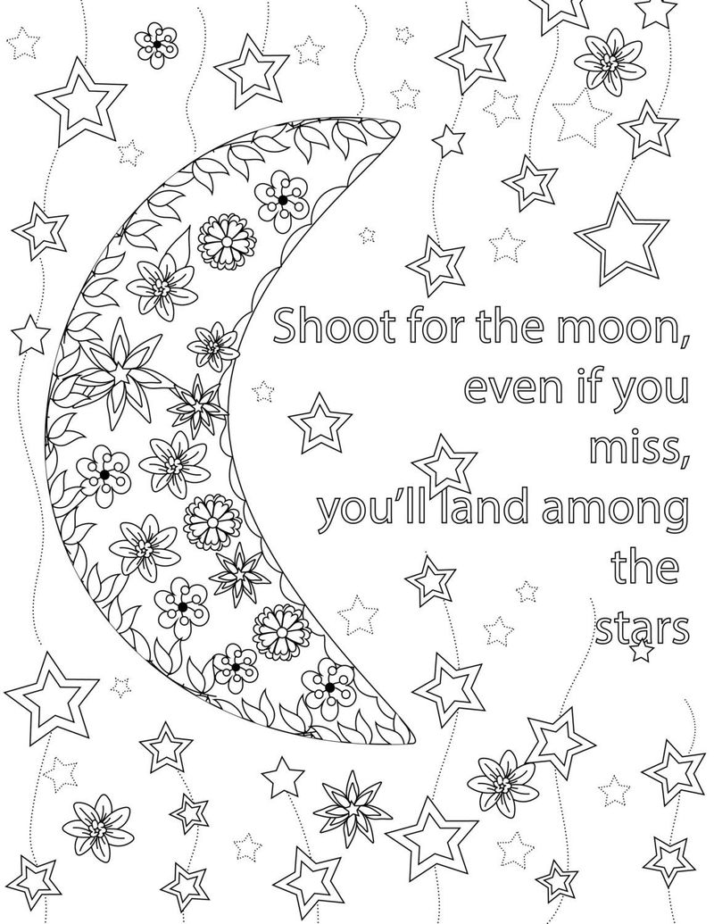 Moon Quote Coloring Page For Teens