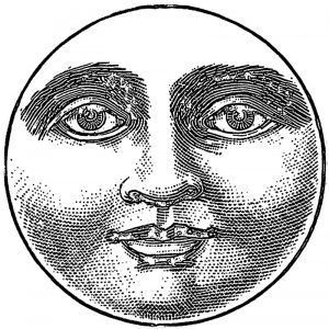 Moon realistic face popart coloring page