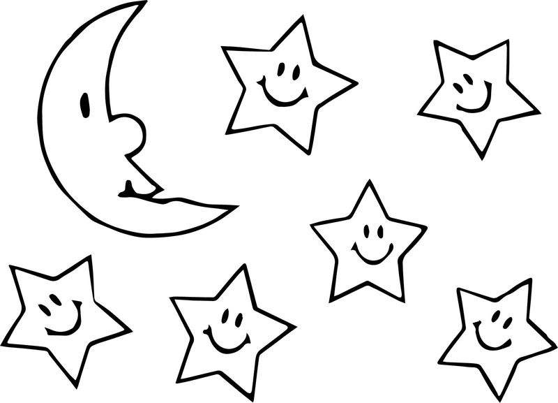 Moon Stars Cartoon Funny Coloring Page