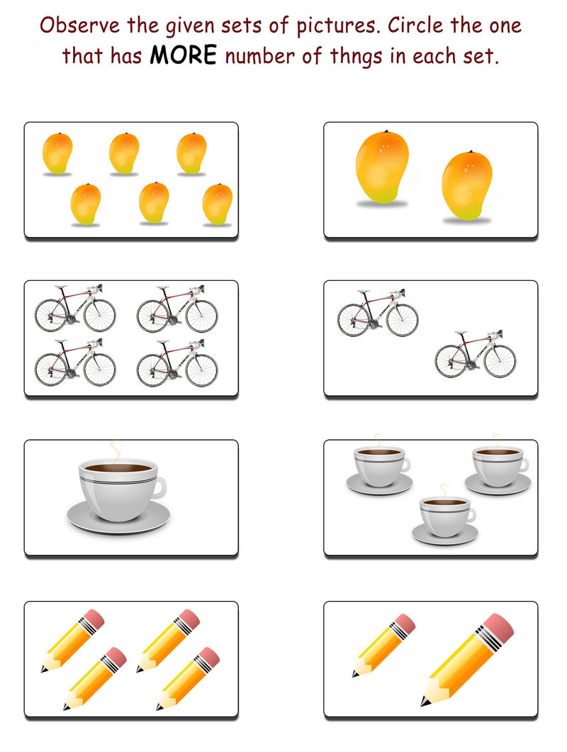 More And Less Worksheets Kindergarden