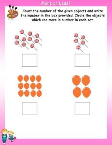 More and less worksheets pink