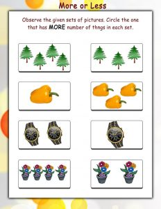 More and less worksheets printable