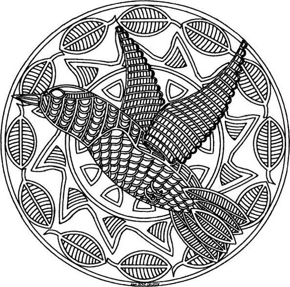 Mosaic And Geometric Bird Patterns Coloring Pages