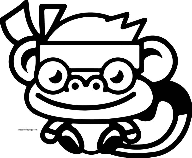 Moshi Monsters Cute Monkey Coloring Page