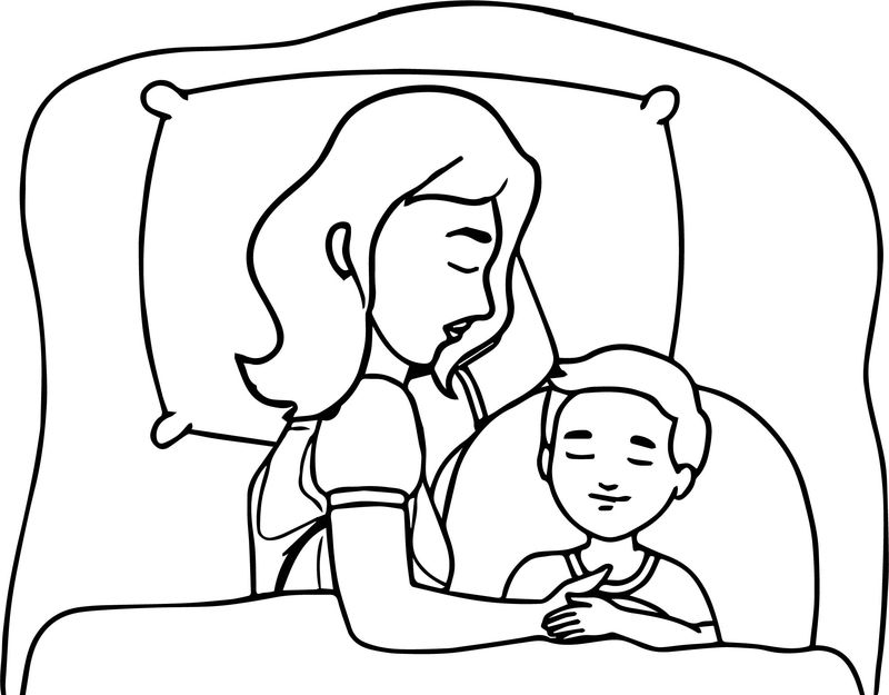 Mother And Child Sleeping In Bed Family Coloring Page