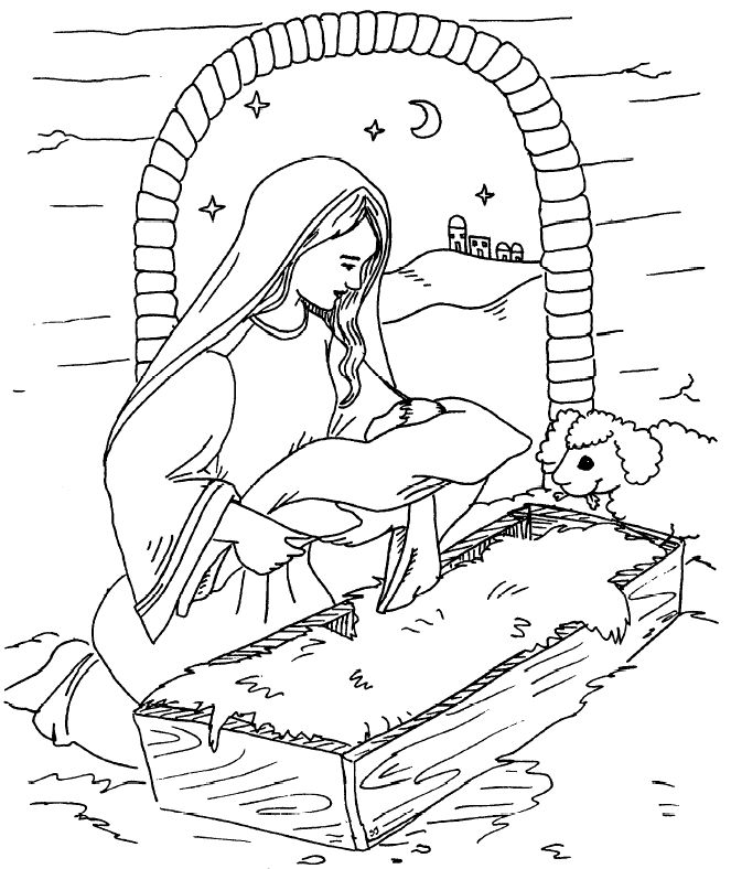 Mother Mary And Baby Jesus Coloring Page 001