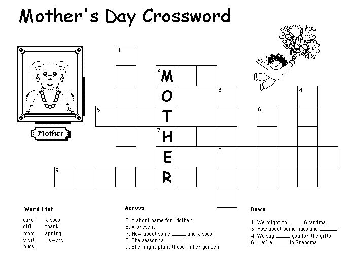 Mothers Day Crossword Puzzles For Kids