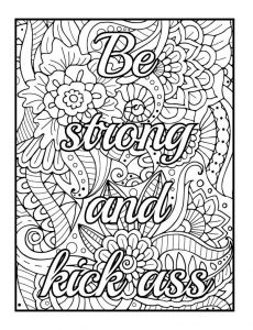 Motivational adult swear coloring page