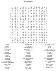 Movie word search horror