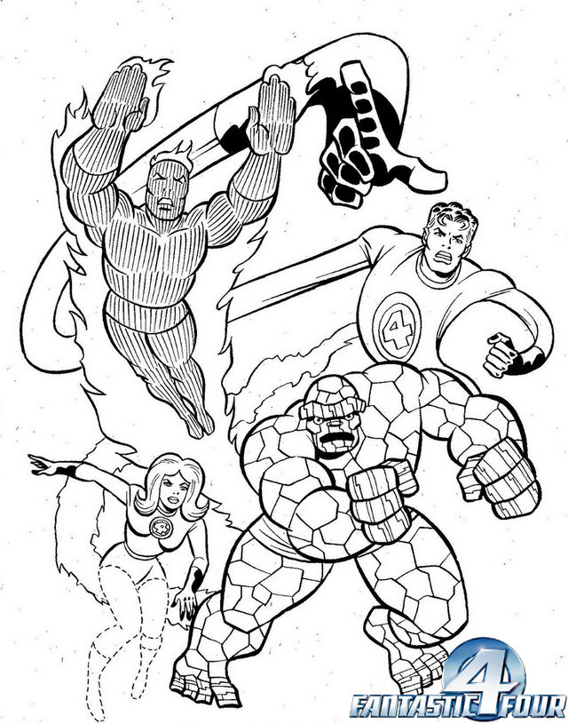 Mr Fantastic Invisible Woman The Human Torch The Thing From Fantastic 4 Coloring Page 1