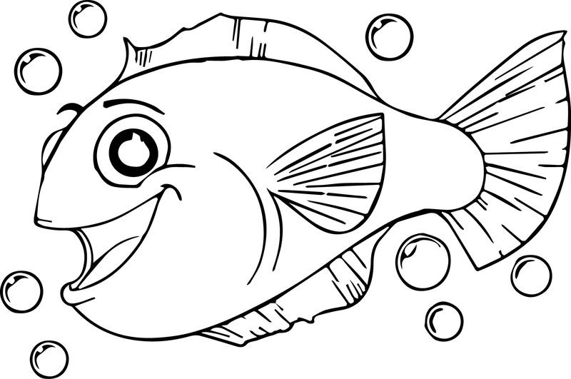 Much Cartoon Fish Coloring Page Sheet
