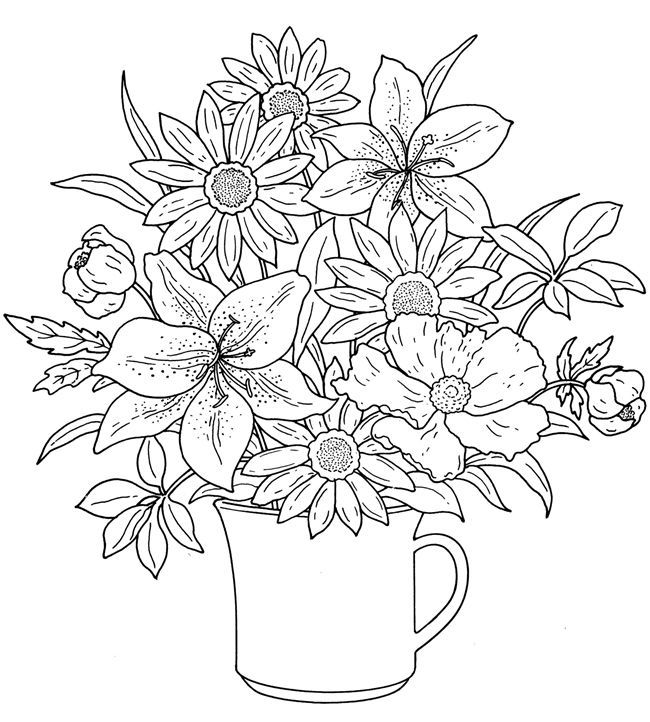 Mug Of Flowers Coloring Pages