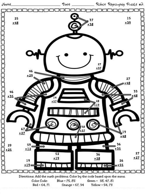 Multi Digit Addition Coloring Worksheets