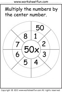 Multiplication wheel worksheet 50